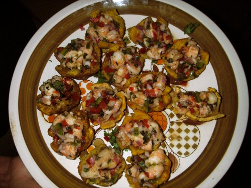 I liked tostones rellenos so much that I made my own version for a party.